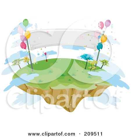Royalty-Free (RF) Clipart Illustration of a Floating Island With Balloons, A Banner And Clouds by BNP Design Studio