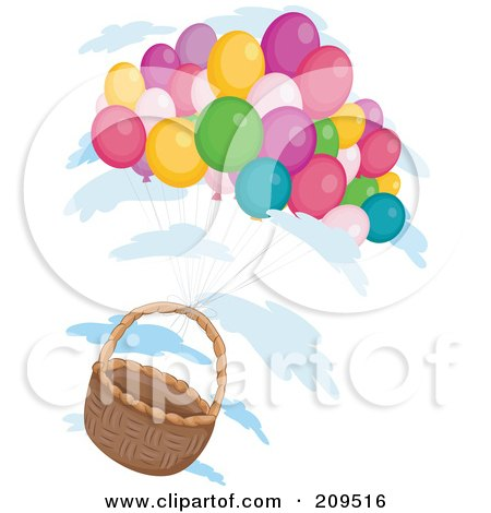 Royalty-Free (RF) Clipart Illustration of a Bunch Of Balloons Floating With An Empty Basket by BNP Design Studio