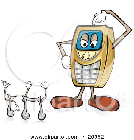 Clipart Picture of a Yellow Cellphone Scratching Its Head And Trying To Decide Which Ringtones To Select by Paulo Resende