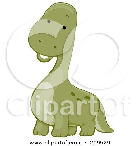 Royalty-Free (RF) Clipart Illustration of a Cute Brontosaurus Dinosaur Smiling by BNP Design Studio