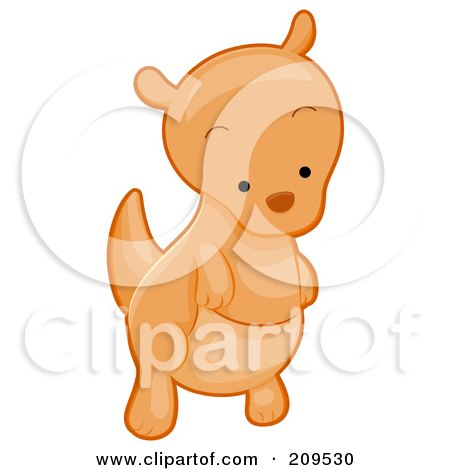 Royalty-Free (RF) Clipart Illustration of a Cute Kangaroo Looking Down by BNP Design Studio