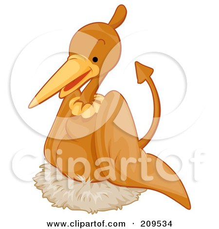 Royalty-Free (RF) Clipart Illustration of a Cute Pterodactyl Nesting by BNP Design Studio