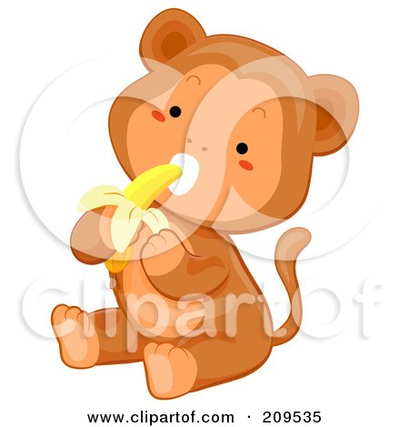 Royalty-Free (RF) Clipart Illustration of a Cute Baby Monkey Sitting And Eating A Banana by BNP Design Studio