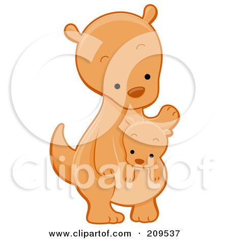 Royalty-Free (RF) Clipart Illustration of a Cute Kangaroo Looking Down At A Joey by BNP Design Studio