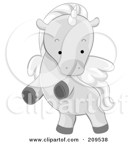Royalty-Free (RF) Clipart Illustration of a Cute Winged Unicorn Rearing by BNP Design Studio