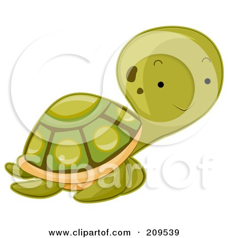 Royalty-Free (RF) Clipart Illustration of a Cute Baby Sea Turtle by BNP Design Studio