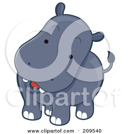 Royalty-Free (RF) Clipart Illustration of a Cute Curious Hippo Tilting His Head by BNP Design Studio