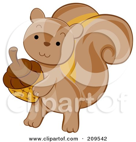 Royalty-Free (RF) Clipart Illustration of a Cute Squirrel Carrying An Acorn by BNP Design Studio