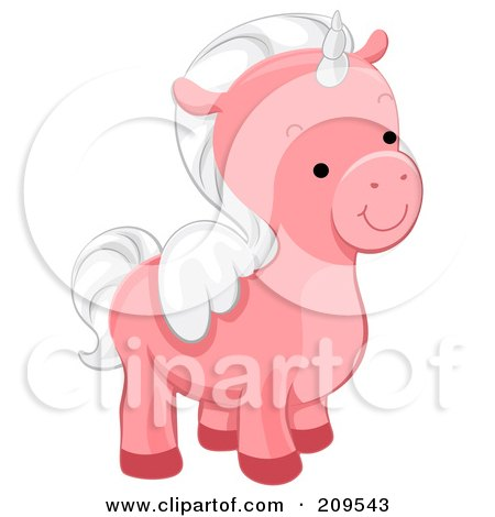 Royalty-Free (RF) Clipart Illustration of a Cute Pink Winged Unicorn Facing Right by BNP Design Studio