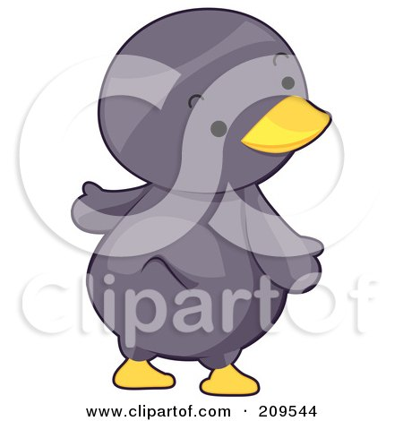 Royalty-Free (RF) Clipart Illustration of a Cute Penguin Looking Over His Shoulder by BNP Design Studio