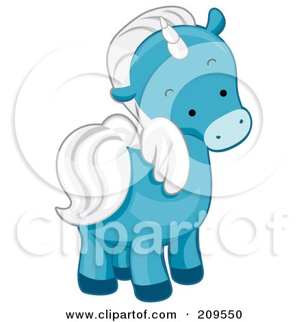 Royalty-Free (RF) Clipart Illustration of a Cute Blue Unicorn Looking Back by BNP Design Studio
