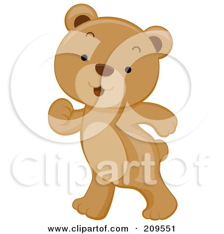 Royalty-Free (RF) Clipart Illustration of a Cute Bear Cub Walking Upright by BNP Design Studio