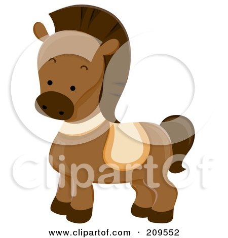 Royalty-Free (RF) Clipart Illustration of a Cute Brown Horse by BNP Design Studio