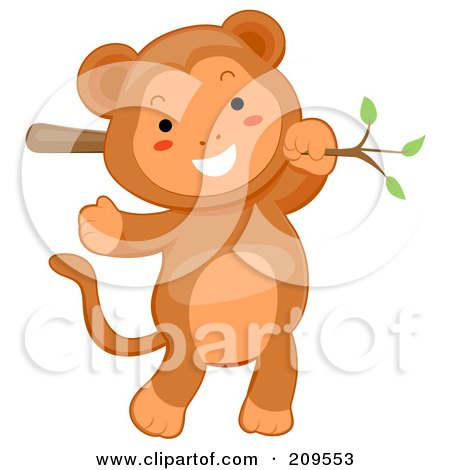 Royalty-Free (RF) Clipart Illustration of a Cute Baby Monkey Hanging From A Branch by BNP Design Studio