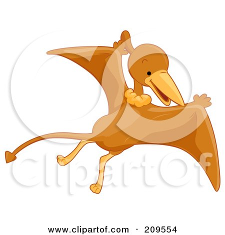 Royalty-Free (RF) Clipart Illustration of a Cute Pterodactyl Flying by BNP Design Studio