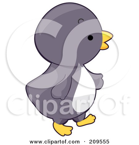 Royalty-Free (RF) Clipart Illustration of a Cute Baby Penguin Walking Right by BNP Design Studio