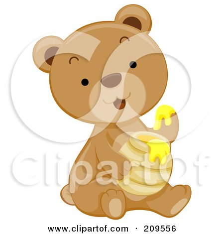 Royalty-Free (RF) Clipart Illustration of a Cute Bear Cub Dipping His Paw In Honey by BNP Design Studio
