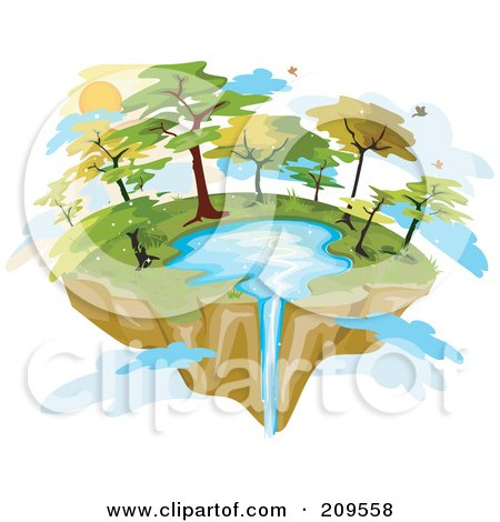 Royalty-Free (RF) Clipart Illustration of a Floating Island With A Lake And Waterfall by BNP Design Studio