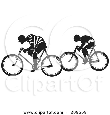 Royalty-Free (RF) Clipart Illustration of Two Retro Black And White Men Riding Bicycles by BestVector