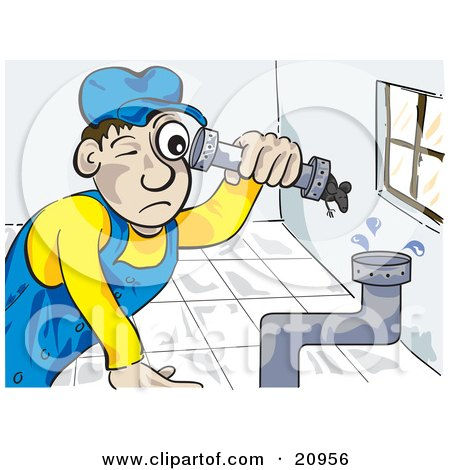 Clipart Picture of a Pipe Fitter Canalizador Plumber Man Fitting Pipes Together In A Bathroom by Paulo Resende