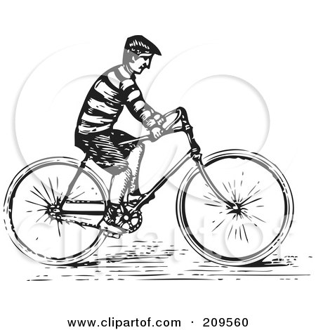 Royalty-Free (RF) Clipart Illustration of a Retro Black And White Man Riding A Bike by BestVector