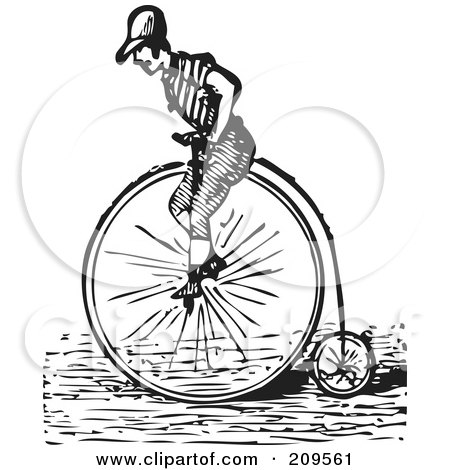 Royalty-Free (RF) Clipart Illustration of a Retro Black And White Man Riding A Penny Farthing Bicycle by BestVector