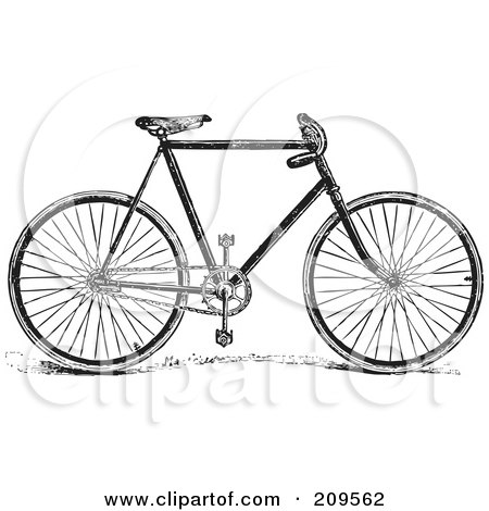 Royalty-Free (RF) Clipart Illustration of a Retro Black And White Bike by BestVector