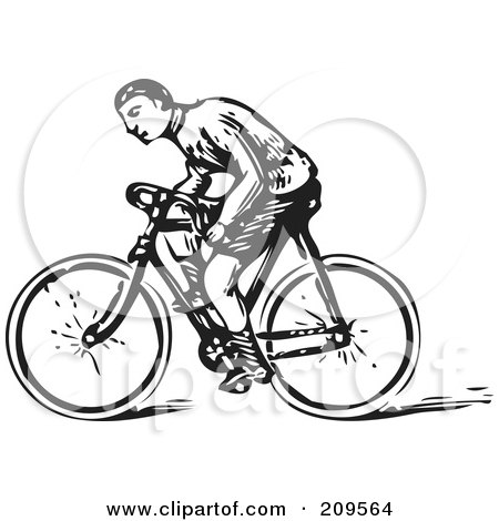 Royalty-Free (RF) Clipart Illustration of a Retro Black And White Man Riding A Bicycle by BestVector