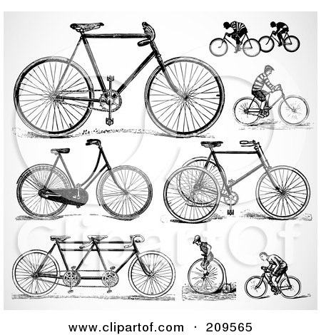 Royalty-Free (RF) Clipart Illustration of a Digital Collage Of Retro Black And White Bicycles And People Riding Bikes by BestVector