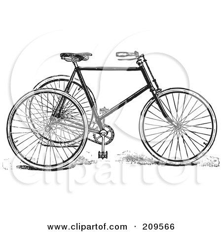 Royalty-Free (RF) Clipart Illustration of a Retro Black And White Tricycle by BestVector