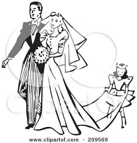 Royalty-Free (RF) Clipart Illustration of a Retro Black And White Girl Carrying The Train Of A Bride's Dress by BestVector