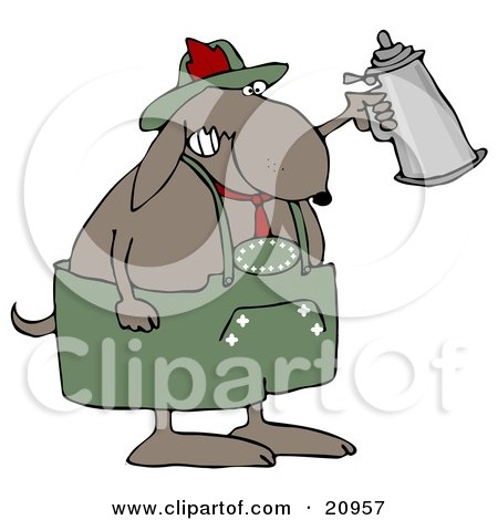 Clipart Illustration of a Partying Dog Drinking A Beer From A Setin At Oktoberfest by djart