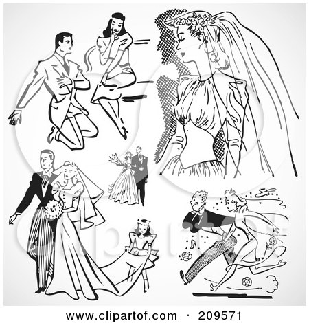 Royalty-Free (RF) Clipart Illustration of a Digital Collage Of Retro Black And White Wedding Couples by BestVector