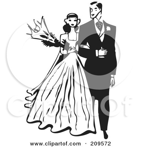 Royalty-Free (RF) Clipart Illustration of a Retro Black And White Bride And Groom Walking Arm In Arm by BestVector