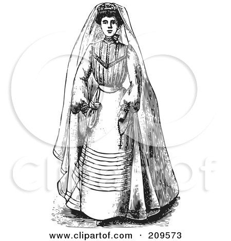 Royalty-Free (RF) Clipart Illustration of a Retro Black And White Bride In A Gown by BestVector
