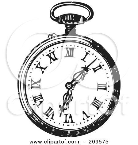 Royalty-Free (RF) Clipart Illustration of a Retro Black And White Retro Pocket Watch - 3 by BestVector