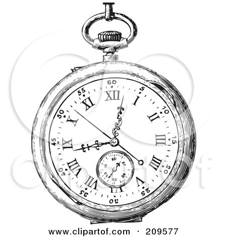 Royalty-Free (RF) Clipart Illustration of a Retro Black And White Retro Pocket Watch - 1 by BestVector