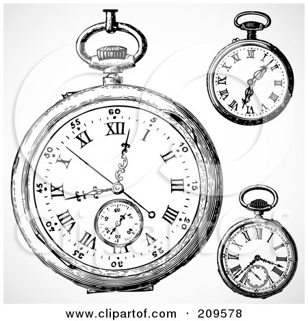 Royalty-Free (RF) Clipart Illustration of a Digital Collage Of Three Retro Black And White Retro Pocket Watches by BestVector