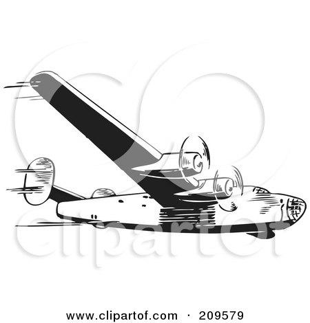 Royalty-Free (RF) Clipart Illustration of a Retro Black And White Plane - 1 by BestVector