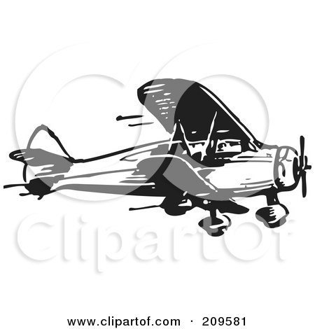 Royalty-Free (RF) Clipart Illustration of a Retro Black And White Plane - 4 by BestVector