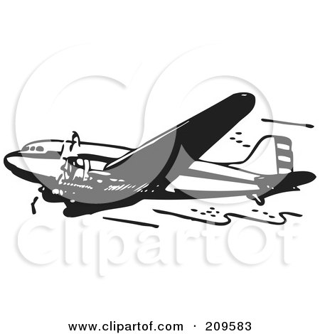 Royalty-Free (RF) Clipart Illustration of a Retro Black And White Plane - 7 by BestVector