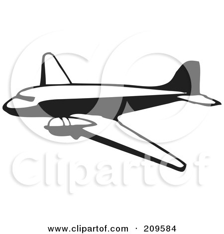 Royalty-Free (RF) Clipart Illustration of a Retro Black And White Plane - 5 by BestVector