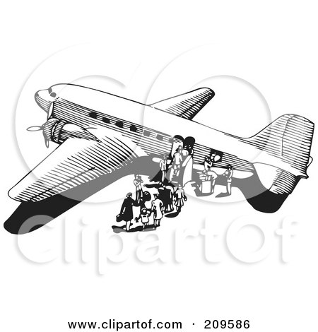 Royalty-Free (RF) Clipart Illustration of a Retro Black And White Plane - 6 by BestVector
