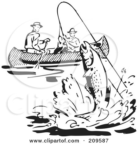 Royalty-Free (RF) Clipart Illustration of Retro Black And White Men Fishing In A Boat, A Fish Leaping by BestVector