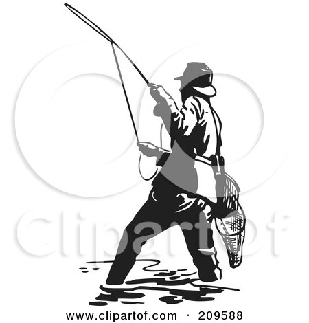 Royalty-Free (RF) Clipart Illustration of a Retro Black And White Wading Fisherman Casting A Line by BestVector