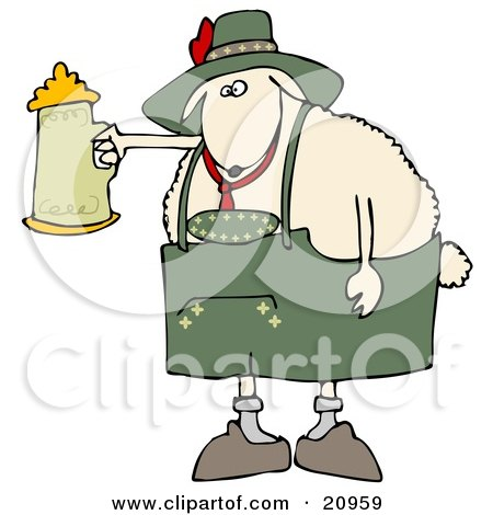 Clipart Illustration of a White Sheep Getting Drunk With A Beer Stein At Oktoberfes by djart