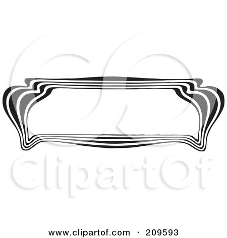 Royalty-Free (RF) Clipart Illustration of a Retro Black And White Art Deco Styled Border - 4 by BestVector