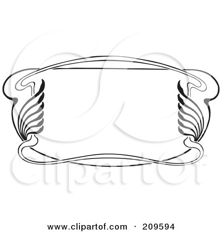 Royalty-Free (RF) Clipart Illustration of a Retro Black And White Art Deco Styled Border - 1 by BestVector