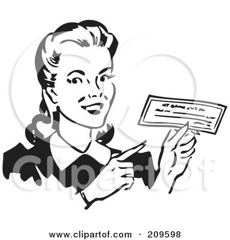 Royalty-Free (RF) Clipart Illustration of a Retro Black And White Woman Holding A Check by BestVector