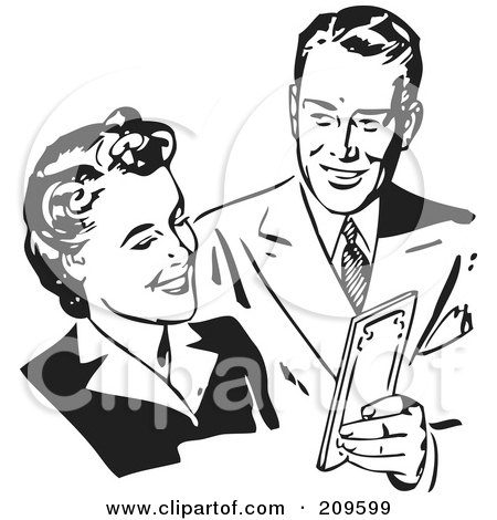 Royalty-Free (RF) Clipart Illustration of a Retro Black And White Couple Sharing Money by BestVector